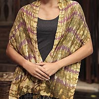 Silk scarf, 'Purple Wilderness'
