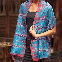 Silk scarf, 'Azure Wilderness'