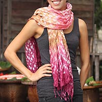 Tie-dyed scarf, 'Fabulous Rose'