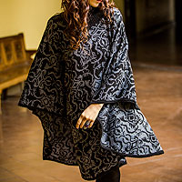 Alpaca blend reversible poncho, 'Sublime Black'