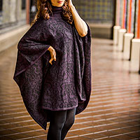 Alpaca blend reversible poncho, 'Sublime Purple'