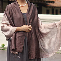 Silk shawl, 'Shimmering Raisin'