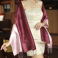 Silk shawl, 'Shimmering Orchid'