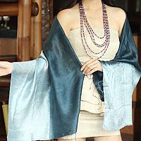 Silk shawl, 'Shimmering Ocean'