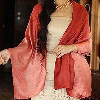 Silk shawl, 'Shimmering Coral'