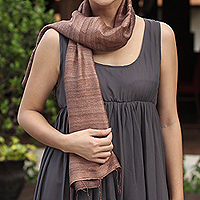 Silk scarf, 'Bold Spice'