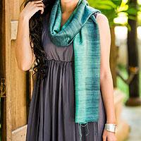 Silk scarf, 'Bold Teal'