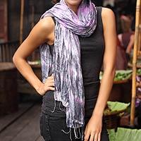 Tie-dyed scarf, 'Smoky Rose'