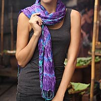Tie-dyed scarf, 'Smoky Lily'