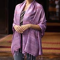 Silk shawl, 'Hydrangea Melody'