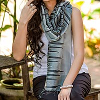 Batik scarf, 'Gray Embrace'