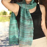 Silk batik scarf, 'Mae Nam Khong Valley'