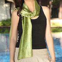 Silk batik scarf, 'Jade Duality'