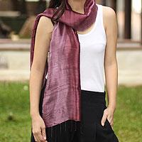 Silk batik scarf, 'Orchid Duality'