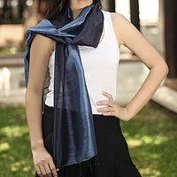 Silk batik scarf, 'Bluebell Duality'