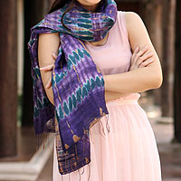 Silk scarf, 'Orchid Mystique'