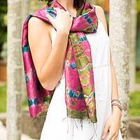 Silk scarf, 'Orchid Illusion'