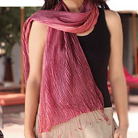 Pin tuck scarf, 'Plum Transition'