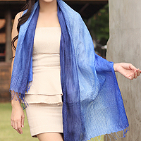 Pin tuck scarf, 'Royal Blue Transition'