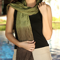 Pin tuck scarf, 'Olive Transition'
