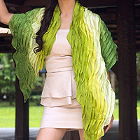 Pleated scarf, 'Evolving Green'