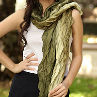 Pleated scarf, 'Evolving Olive'