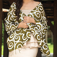 Silk scarf, 'Olive Thai Maze'