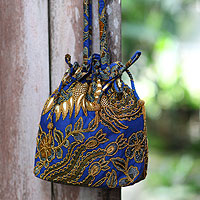 Beaded cotton batik shoulder bag, 'Javanese Bluebird'