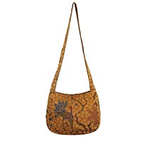 Beaded cotton batik shoulder bag, 'Madura Peacock'