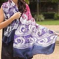 Silk batik shawl, 'Ocean Hyacinth'