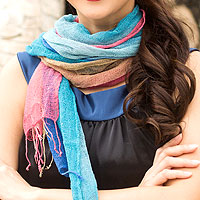 Silk scarves, 'Turquoise Fantasy' (pair)