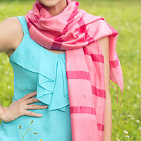 Silk and cotton scarf, 'Rose Harmony'
