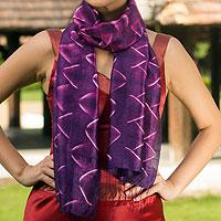 Silk scarf, 'Amethyst Mystique'