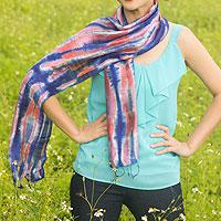 Silk scarf, 'Blue Thai River'