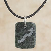 Jade pendant necklace, 'Dark Green Scorpio'