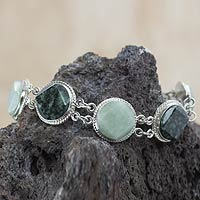Jade link bracelet, 'Geometric Enigma'