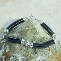 Black jade link bracelet, 'Natural Connection'