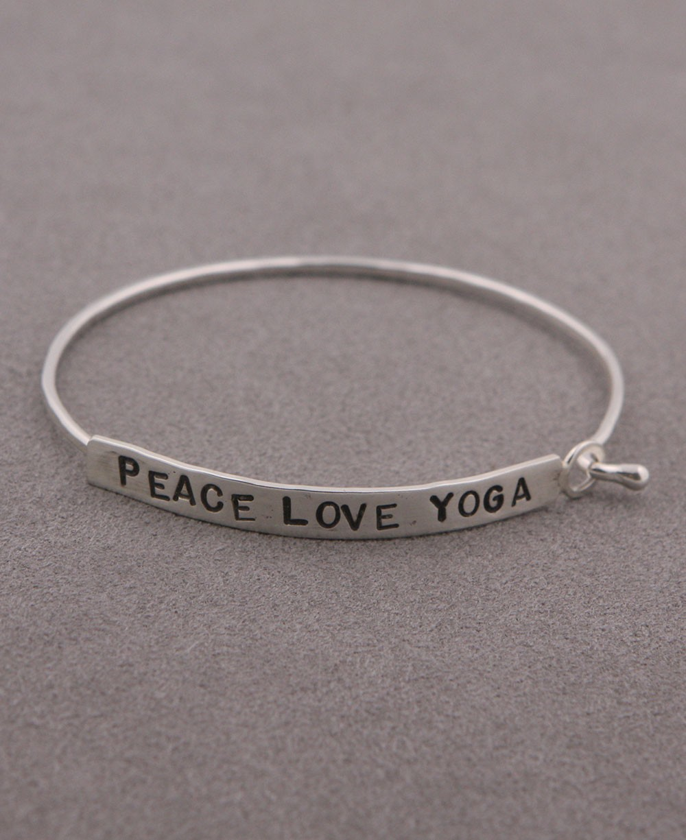 Inspirational Jewelry, Peace Love Yoga Bracelet, Silver
