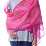 Hand Loomed Pink Floral Silk Cotton Shawl
