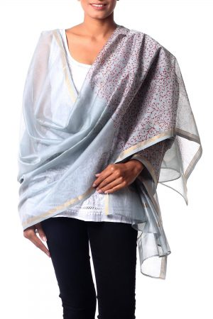Pink and Gray Cotton and Silk Shawl