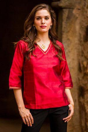 Silk tunic, 'Grand Ruby'