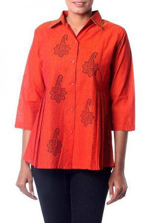 Cotton tunic, 'Jaipur Summer'