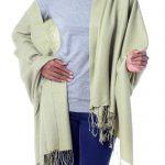 Handwoven Green Wool and Silk Shawl