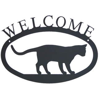Iron Welcome Sign - Curious Cat