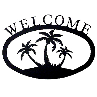 Small Iron Welcome Sign - Palm Trees