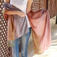 Silk and wool shawl, 'Natural Radiance'