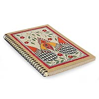 Madhubani painting journal, 'Peacock Romance'