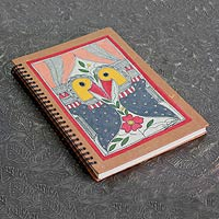 Madhubani painting journal, 'Peacock Kiss'