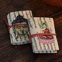 Handmade paper journals, 'Serenity' (pair)