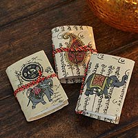 Handmade paper mini journals, 'Jaipur Verses' (set of 3)